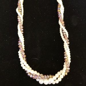 Pearl and light purple beading